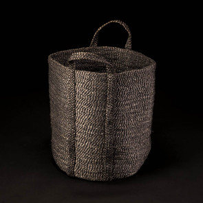 Jute basket with handles, round, gray