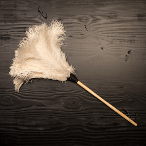 Ostrich feather duster, white