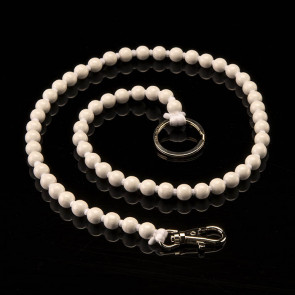 Key fob, beads, long, white