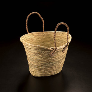 Basket bag with leather handles, bast