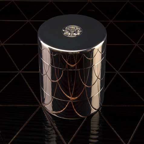 Tea tin, silver-plated with two compartments