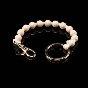 Key fob, beads, short, white